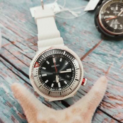 Seiko SNE545P1 Men's Prospex Solar Street Series Diver's 200M White Silicone Strap Watch