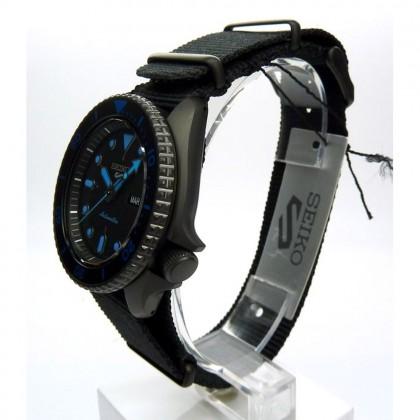 Seiko 5 Sports SRPD81K1 Men's Automatic Day-Date 100M Black Nylon Strap Watch