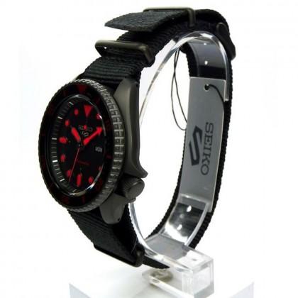 Seiko 5 Sports SRPD83K1 Men's Automatic Day-Date 100M Black Nylon Strap Watch