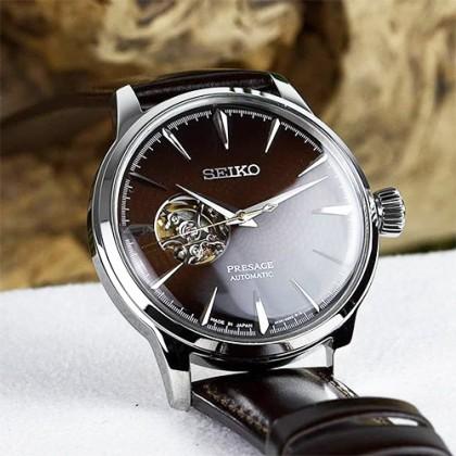 Seiko SSA407J1 Men's Automatic Presage Cocktail STAR BAR Midnight Stinger Open Heart Brown Leather Strap Watch