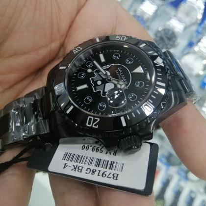 Balmer B7918G BK-4 Men's Quartz Sapphire 50M Black-Tone Stainless Steel Bracelet Watch