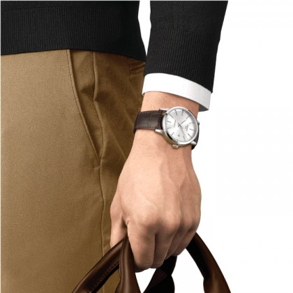 Tissot T129.407.16.031.00 Men's Automatic T-Classic Classic Dream Swissmatic Brown Leather Strap Watch