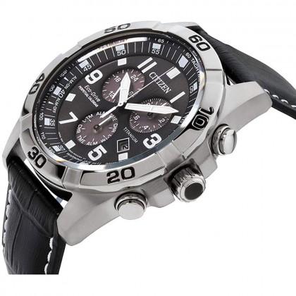 Citizen BL5551-14H Men's Eco-Drive Chronograph Super Titanium Case Black Leather Strap Watch