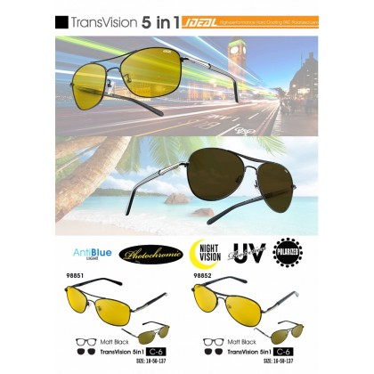 (NEW) Ideal Transvision 5-in-1 Men's AntiBlue Light Photochromic Night Vision TAC Polarized Lens Sunglasses # 98851-98852